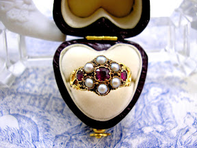 Georgian Mourning Ring Ruby Pearl Hair Locket 15ct Gold