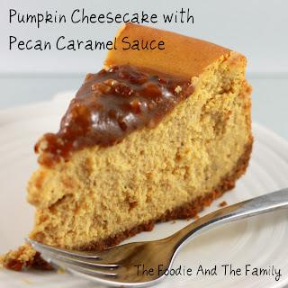 Pumpkin Cheesecake with Pecan Caramel Sauce