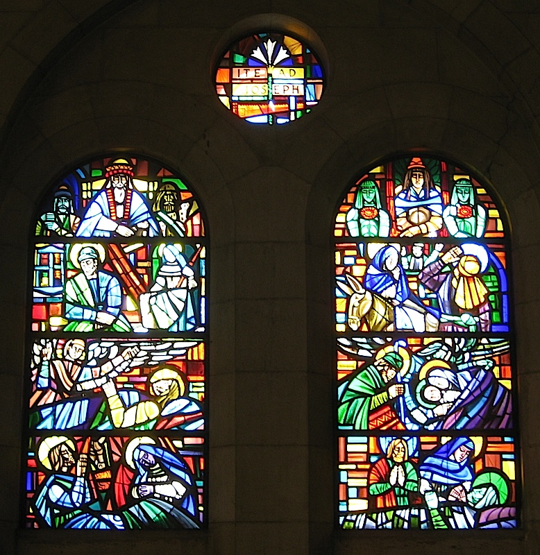 stained glass windows at the Manila Cathedral dedicated to Saint Joseph