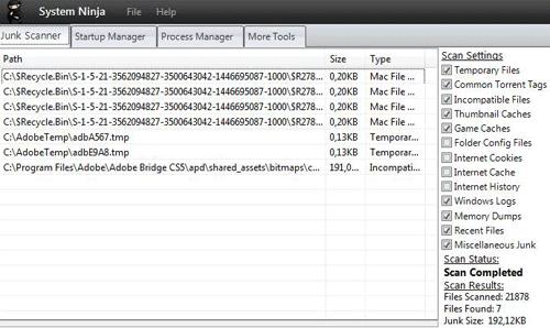 Eliminando archivos innecesarios con System Ninja