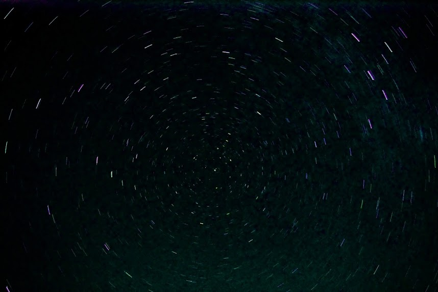 13 minute star trails rotating around Polaris.