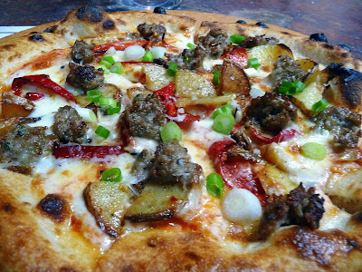 Wild Fennel Sausage with potato, tomato, chilies, scallions, smoked mozzarella Oven and Shaker, Cathy Whims, Pearl District