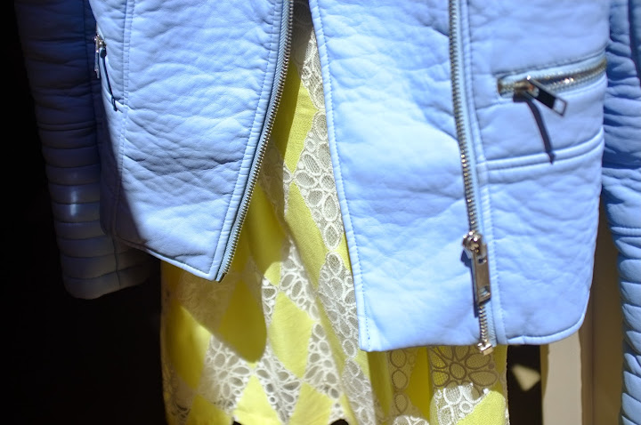 baby blue leather jacket zara lemon yellow lace dress