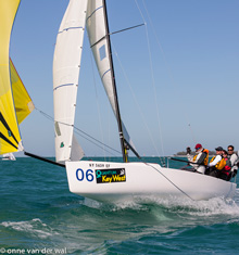 J/70 one-design sailboat- sailing fast downwind