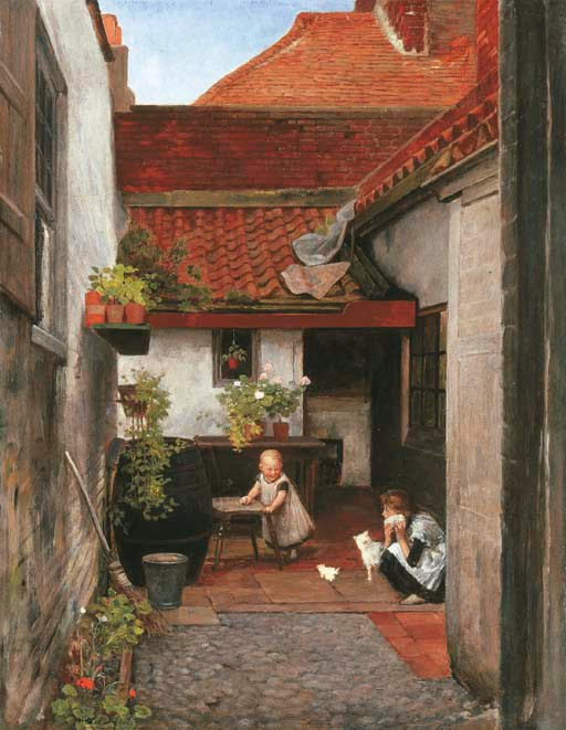 William Frederick Yeames - A cottage garden