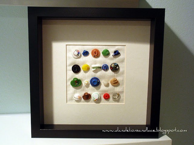 framed glass hat buttons