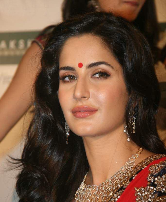 bollywood actress, katrina kaif, katrina kaif beautiful face, red bindi on forehead