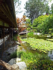 Karl Strauss Brewing Company, view at Sorrento Mesa location with Japanese Garden, San Diego, California