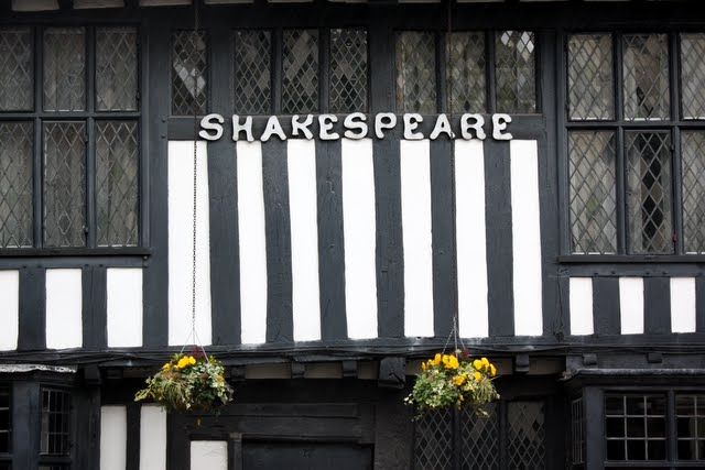 Historic building with Shakespeare written across it in Stratford upon Avon England