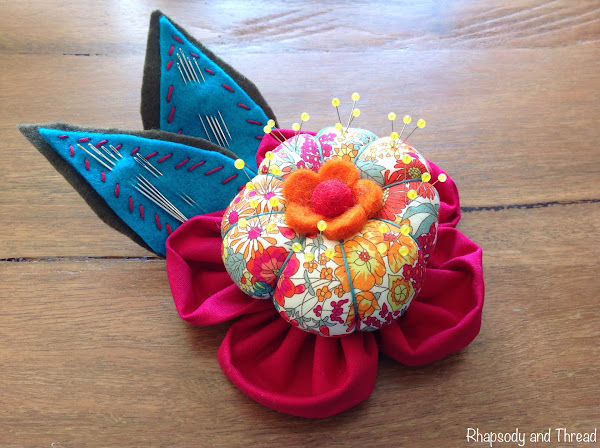Liberty Flower Pincushion by Rhapsody and Thread