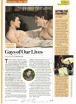 TV Guide Jan. 19, 2015, p.42 first gay male marriage in soap
