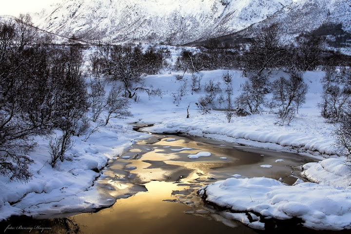 Winter in Norway: Godfjord, Sortland, the Godfjord river in winter landscapes.