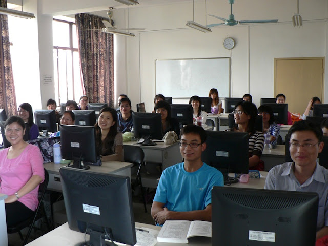 classroom in Nanning with computers in front of all the students