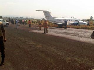 Un avion d'Air Tropic effectue un atterrissage forcé à l'aéroport de Kavumu à Bukavu (Sud-Kivu) vendredi 27 juin matin. Photo Monusco Bukavu