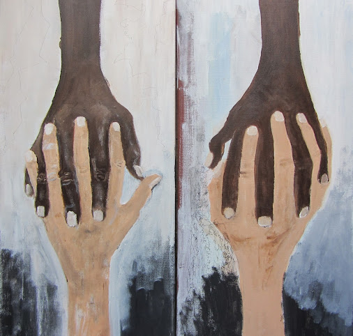 """HAND-IN-HAND"" #acrylic  on #canvas   #40x40cm"