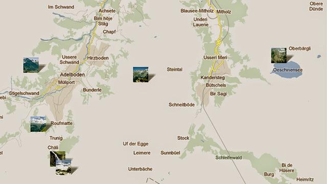 Öschinensee Kandersteg Berner Oberland Schweiz Karte AUsflugsorte