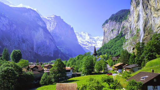 Lauterbrunnen and Staubbach Falls,  Jungfrau Region, Swiss Alps, Switzerland.jpg