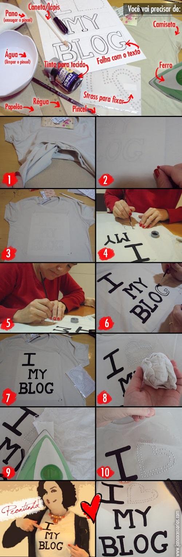customização de camiseta - I Love My Blog