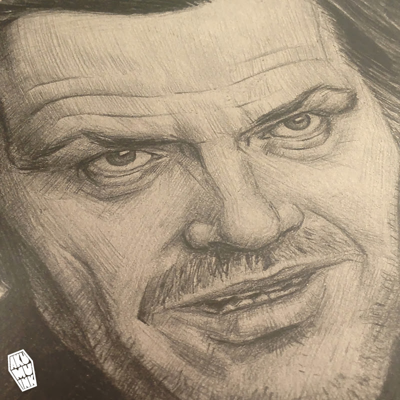 jack nicholson, celebrity fanart, artist, sketch, portrait artist, pencil sketch, local artist, montreal artist, shining art, horror art
