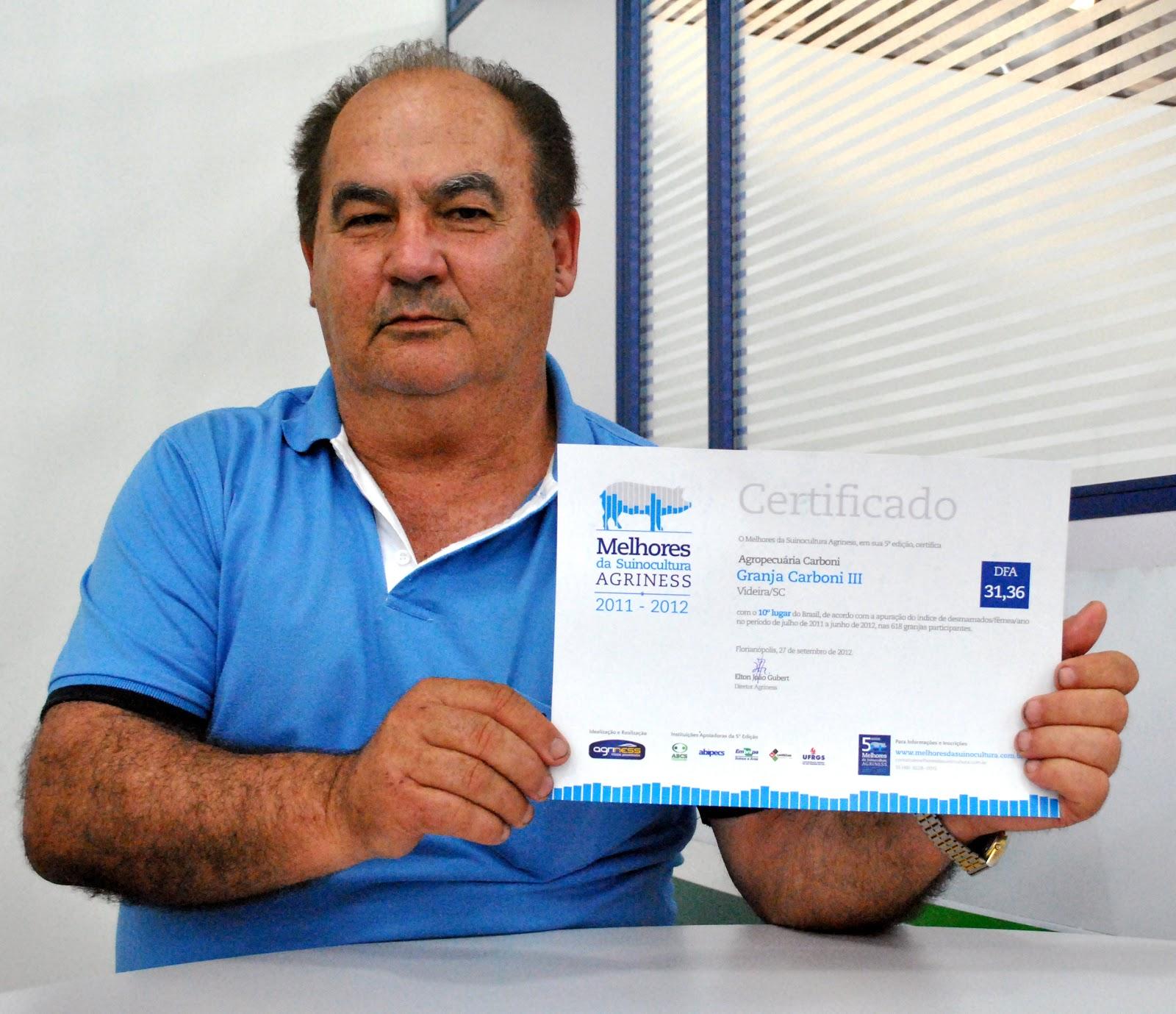 Granja Carboni está entre as 10 melhores do país no prêmio 'Melhores da Suinocultura Agriness' TRATADA
