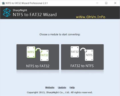 Phần mềm chuyển NTFS sang FAT32,FAT32 sang NTFS không mất dữ liệu