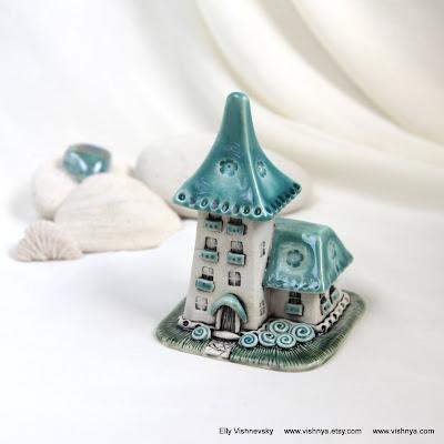 Авторская керамика Элли Вишневской. Домики для фей. Hand Made Ceramic and pottery Eco-Friendly Home Decor by Elly Vishnevsky.