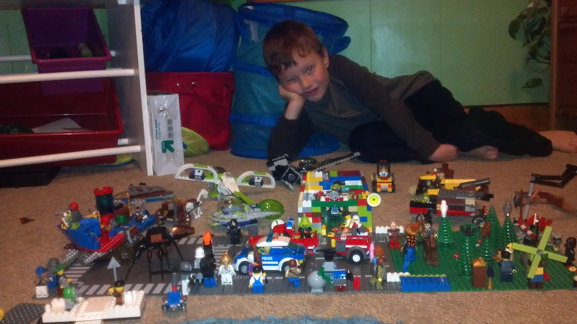 Grey shows off his Legos on a sad Friday night