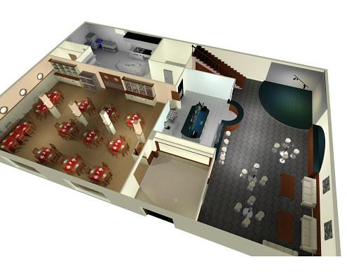 El habitat el dise o y la armon a en el espacio teor a for Plano de una cocina de un restaurante