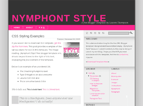 The New Nymphont Style Blogger Template