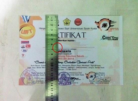 Ukur panjang sertifikat