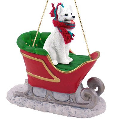 White German Shepherd Sleigh Dog Christmas Ornament