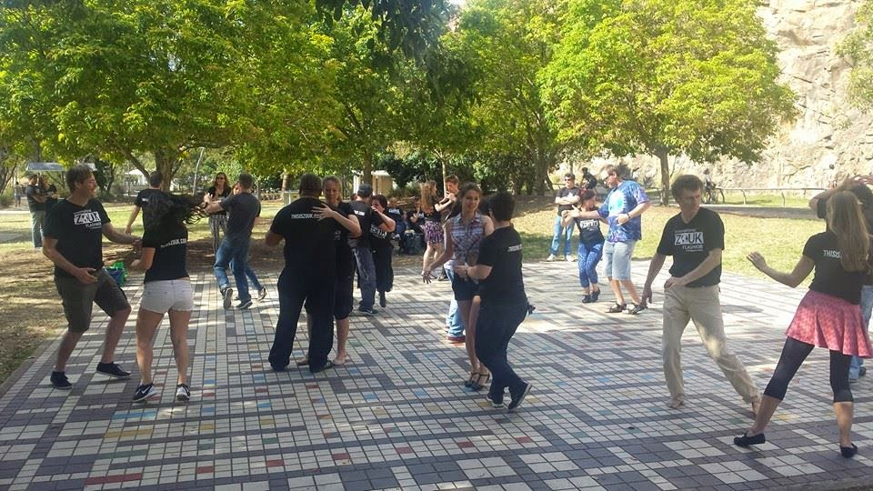 Dancing by the river after a successful flash mob