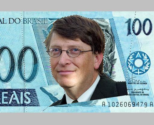 Imagem de Gates, já sem fundo, sobre a nota de Cem Reais