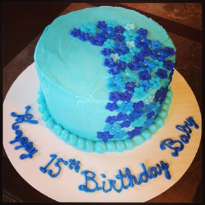 Cake It Or Weave Blue Flower Birthday