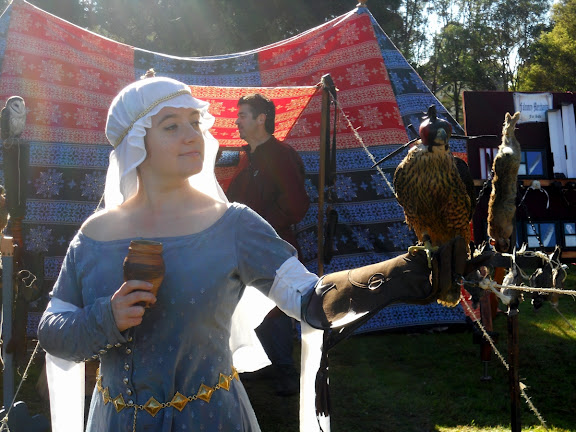 Lady Farrell with falcon