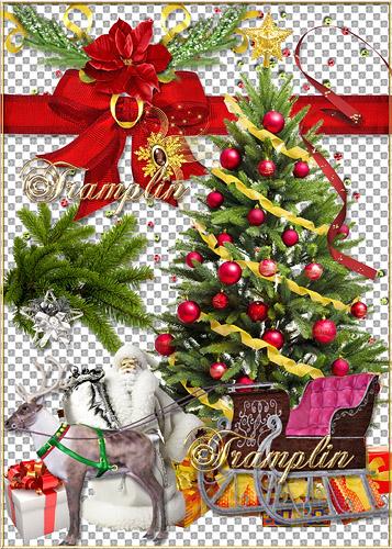 Клипарт  Новогодний - Блестят на ёлке бусы, хлопушки и звезда