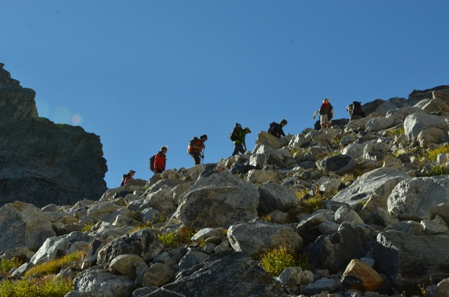The team as it heads up to the summit with clear skies