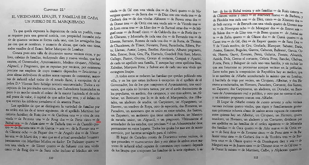 Los linajes del Marquesat de Llombai según la Descripción del gobernador Benlloch en 1756. (Ayuntamiento de Llombai)