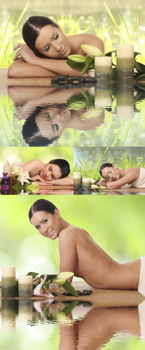 Stock Photo: Woman relaxing in spa, with reflection on the water