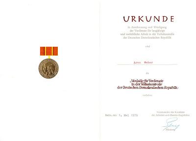 249b Medaille für Verdienste in der Volkskontrolle der Deutsche Demokratische Republik http://www.ddrmedailles.nl