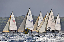 J/80s sailing Grand Prix Ecole Navale in France