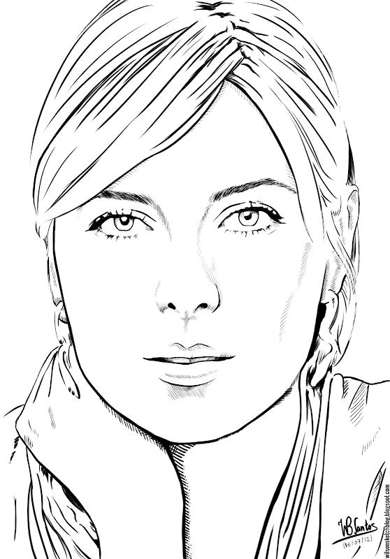 Ink drawing of Maria Sharapova, using Krita 2.4.