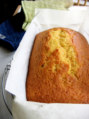 olive oil pound cake in a baking pan
