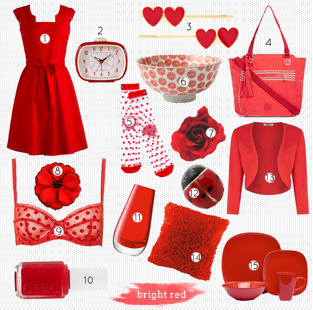 collage of bright red fashion and home decor items