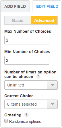 multiple choice form fields with limited choices 123formbuilder