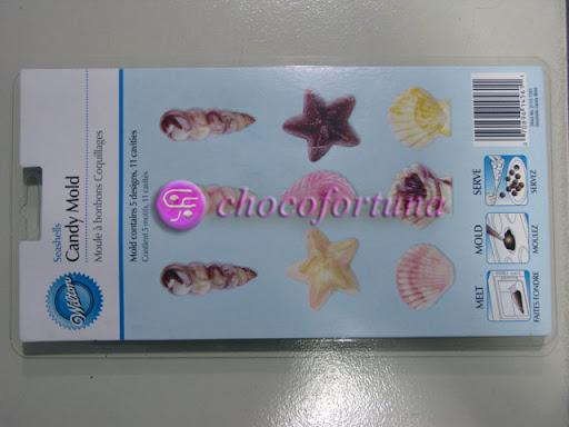 Cetakan Coklat Hewan Laut Kerang Seashells
