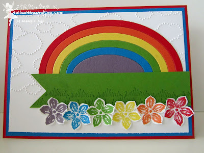 stampin up, inkspire_me 137, rainbow, regenbogen, petite petals, tutorial, dino-party