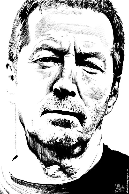 Ink drawing of Eric Clapton, using Krita 2.4.