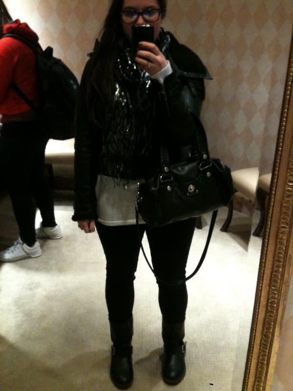 d642e092b black leather jacket, white tee, black h&m skinnies, black/silver cheetah  scarf, motorcycle boots, mbmj sondra bag
