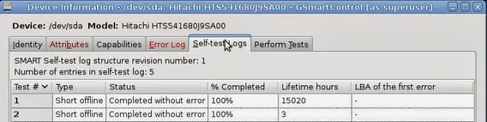 GSmart self-test logs